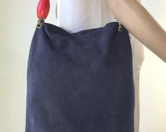 Large Blue Suede Leather Purse, Bag Boho, Sopped Beaded Strap, Shoulder Bag