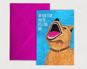 Dog card, dog , laughing, humour, Irish slang