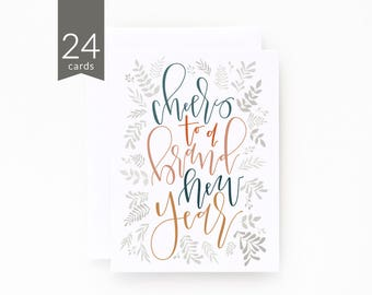 New Years Card Set of 24 | Hand Illustrated Botanical New Years Cards with Hand Lettered Calligraphy : Botanical New Year Card