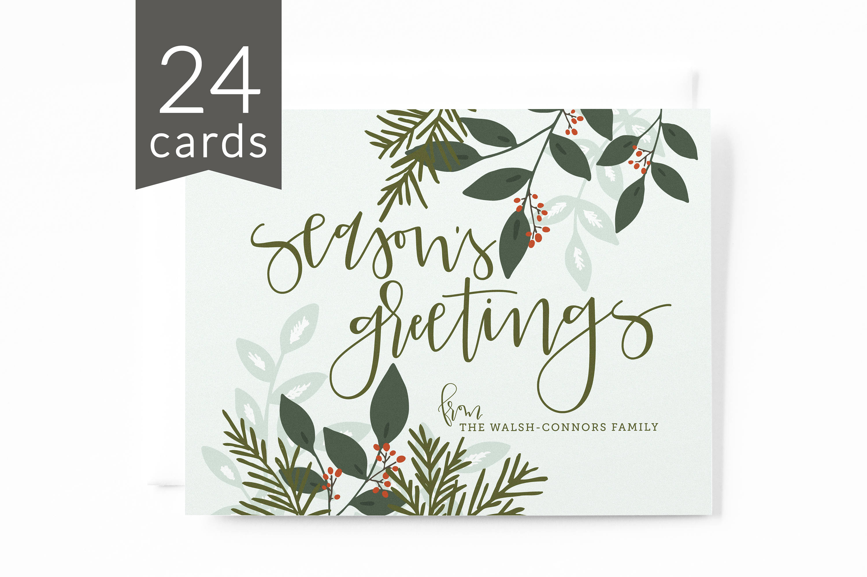 Personalized Christmas Card Set Of 24 Hand Lettered Illustrated