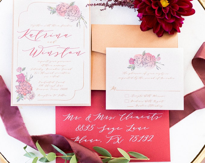 Two Layer Floral Rose Gold Glitter, Blush Pink & Red Burgundy Marsala Flowers Wedding Invitation, RSVP, Liner and Guest Address Printing