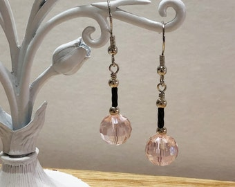 Pink and Black Crystal Earrings, Dangle Earrings, Earrings, Women's Jewelry, Pink Earrings, Gift for her, Women's Jewelry