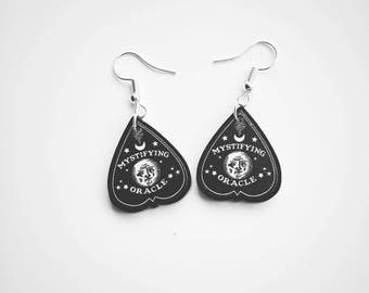 Gothic earrings, gothic jewellery, ouija earrings, planchette earrings, acrylic earrings, ouija board, gothic gift, sterling silver