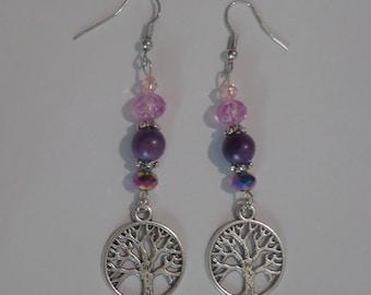 Tree Of Life Earrings,Purple Earrings,Tree Of Life Jewelry,Purple Jewelry,Purple Dangle Earrings,Purple Drop Earrings,Long Earrings