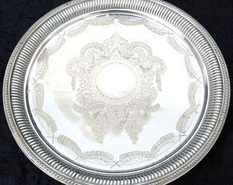 Antique Collectible Silver Plated Tray, Footed Salver, Floral Swags, John Round, Ribbed Edging, Drinks Tray, Serving Tray, Striking Antique