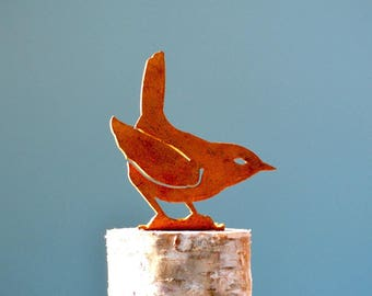 B702 Winter Wren - Steel Silhouette with Rusty Patina