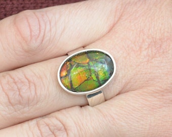 Beetle's Wing Ammolite Ring // Ammolite Jewelry // Ammonite Jewelry // Fossil Jewelry // Sterling Silver // Village Silversmith