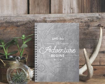Adventure Begins Notebook Journal, Lined Travel Journal, Best Graduation Gift, Adventure Awaits, College Student Gift, Wedding Guestbook