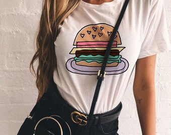 Burger Love Tee / hamburger shirt / womens graphic tees / food t-shirt