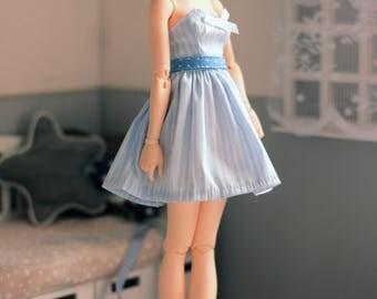 Blue striped dress with zipper minifee