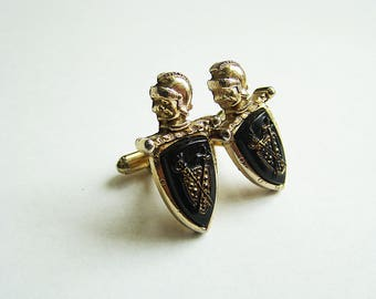 Vintage Cuff links Black Gold Roman Soldier, shield, knight, armor, Estate Jewelers Cufflinks