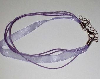 X 1 Bracelet organza and cotton purple 21cm