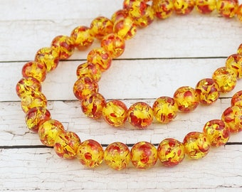 8 mm Synthetic amber beads • Speckled orange amber • Yellow amber beads • Round synthetic amber beads
