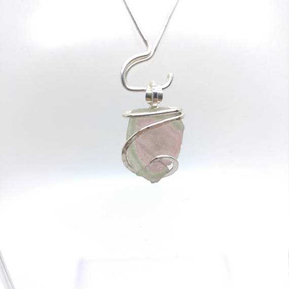 Tourmaline Slice Necklace | Watermelon Tourmaline Necklace | Sterling Silver Pendant | Bi Color Tourmaline | Green | Pink | Raw Cut Crystal