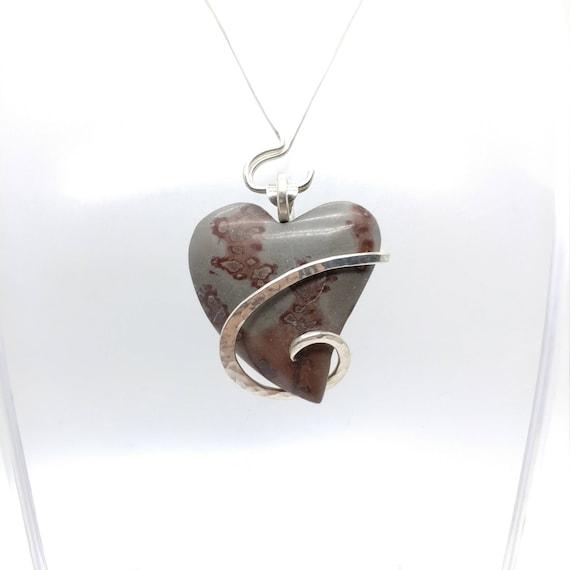 Heart Necklace   Chohua Jasper Pendant   Heart Shaped Picture Jasper Pendant   Sterling Silver    Picture Jasper Necklace   Stone Heart