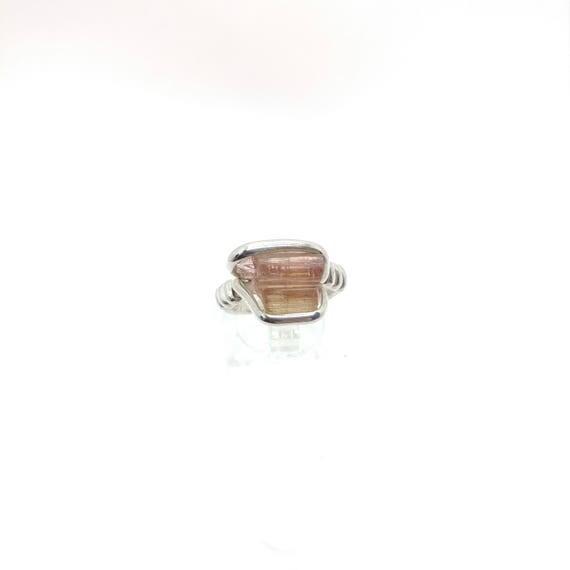 Rough Watermelon Tourmaline Ring | Sterling Silver Ring Sz 6 | Raw Tourmaline Ring | Uncut Gemstone Ring | Raw Tourmaline Jewelry