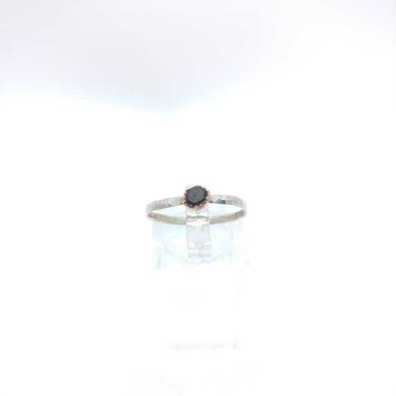 Raw Garnet Stacking Ring   Sterling Silver Copper Ring Sz 8   Raw Garnet Ring   Raw Stone Jewelry   Mixed Metal Ring   Garnet Stacker Ring