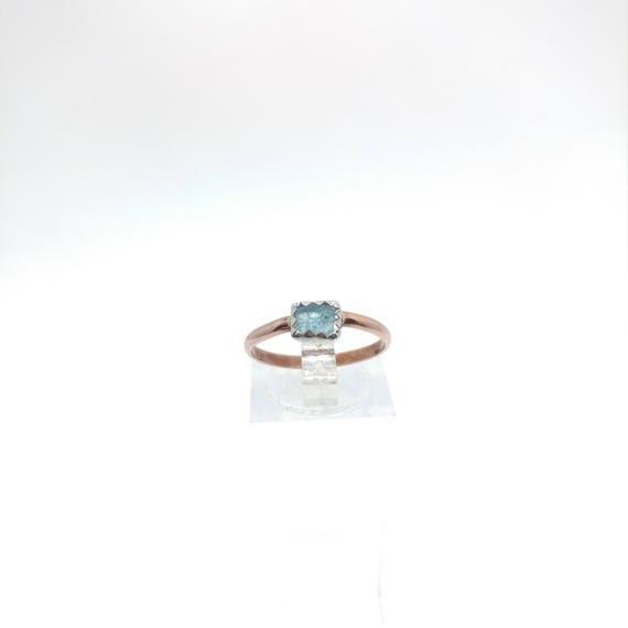 Raw Aquamarine Ring | Mixed Metal Ring Sz 7.5 | Raw Blue Aquamarine Ring | Raw Crystal | Raw Stone | Caribbean Blue Crystal Jewelry