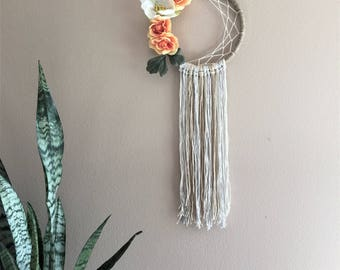 Flower Dreamcatcher Wall Hanging Decor Tapestry Boho Bohemian Half Moon Tribal Girl Nursery Baby Shower Gift Orange White Spring Crib Rose