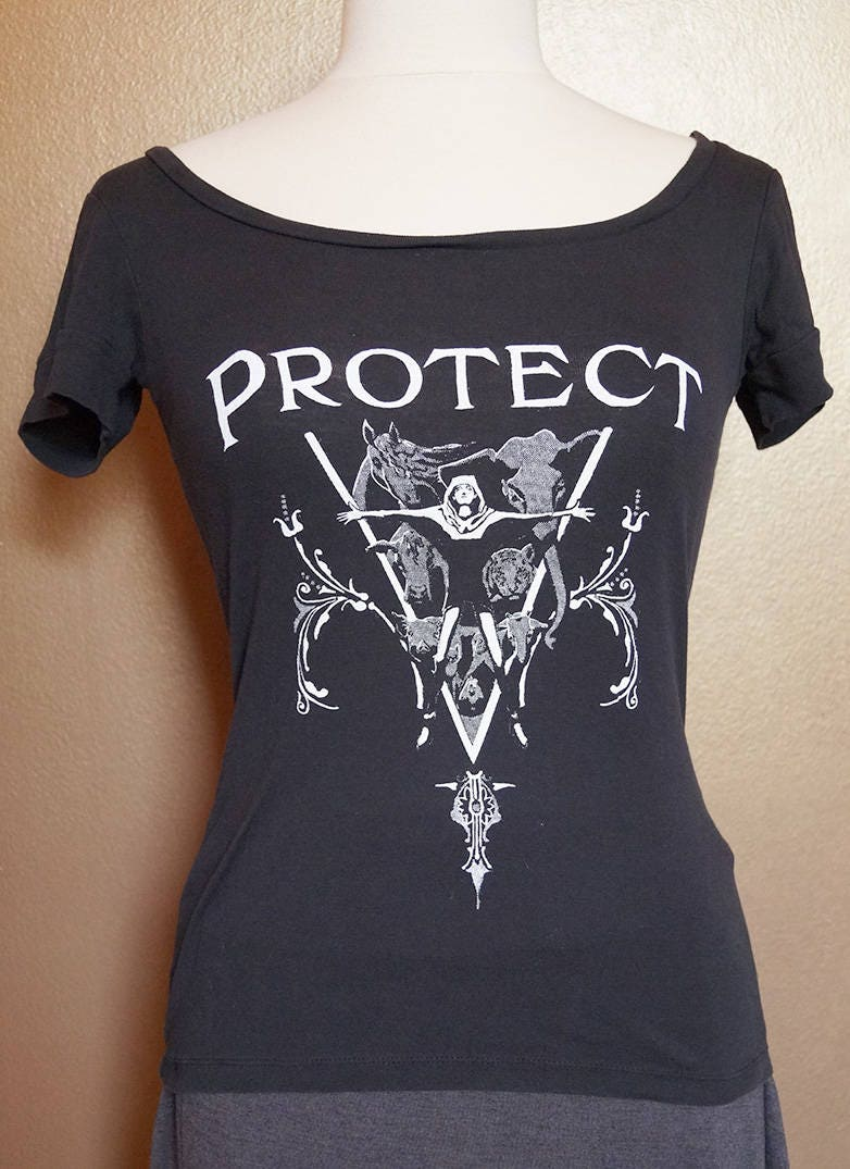 """XS """"Protect"""" Tee, White Ink on Black"""