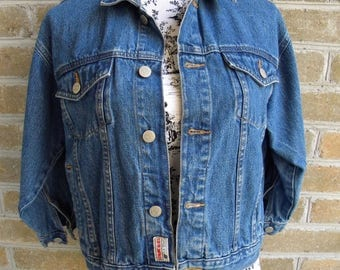 90's Vintage Cropped Denim Jacket / Cropped Jean Jacket / Genuine Blues / S/M