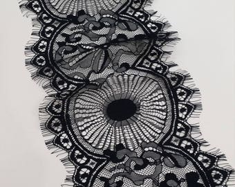 Black lace Trim, Chantilly Lace, French Lace, Wedding Lace, Scalloped lace Eyelash lace Floral Lace Lingerie Lace by the yard BJL9001