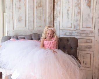 Flower girl dress - Tulle flower girl dress - Pink Dress - Tulle dress-Infant/Toddler - Pageant dress - Princess dress -White flower dress