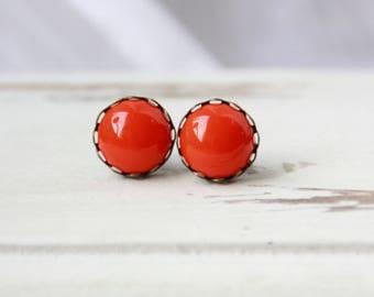 Earrings, 12 mm, red, stud earrings red red earrings, minimal earrings