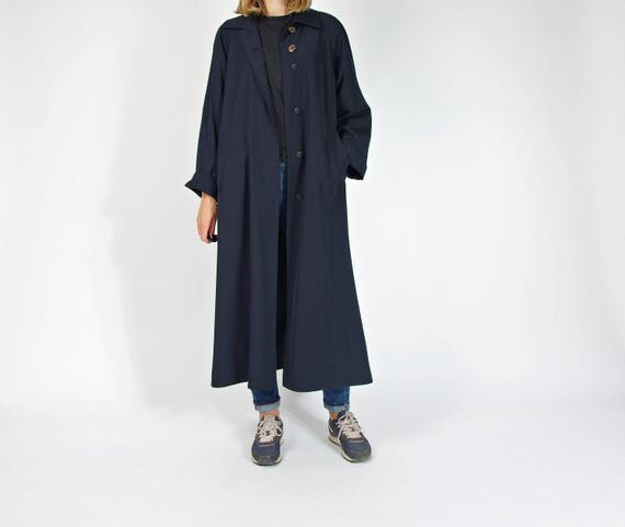 90s Minimalistic navy blue long casal women's coat / size m/l