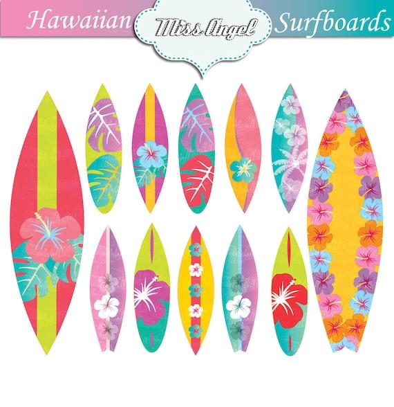 Hawaii surfboards clip art set 12 digital surf boards - Dibujos para tablas de surf ...