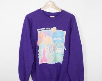 sparkly pastel melbourne beach sweatshirt - vintage 80s - toucan - purple - tropical - floral