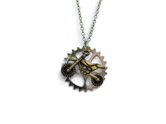 bronze dirt bike necklace motocross jewelry dirt bike