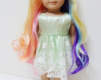 Rainbow Curly Wig for American Girl Dolls