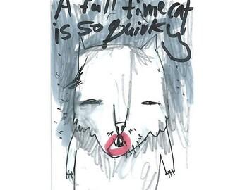 Original aceo, original atc, quirky gifts, weird art, cat lover gift, cat artwork, cat original art, cat illustration, original cat drawing