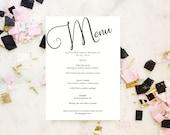Celebration Editable Menu Template, Bar Menu, Drink Menu. Printable Wedding Menu Template, Instant Download, Reception Menu, Wedding Sign
