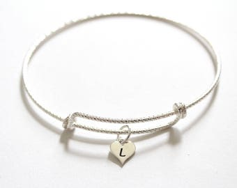 Sterling Silver Bracelet with Sterling Silver L Letter Heart Charm, Silver Tiny Stamped L Initial Heart Charm Bracelet, L Charm Bracelet