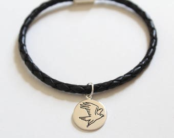 Leather Bracelet with Sterling Silver Falcon Charm, Falcon Bracelet, Falcon Charm Bracelet, Silver Falcon Charm Bracelet, Falcon Bird