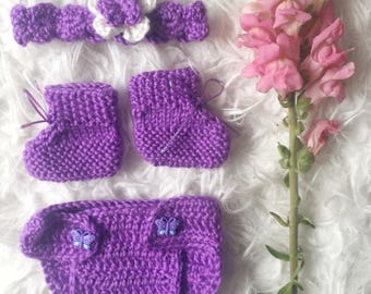 Hand knitted doll and teddy bear clothes and accessories
