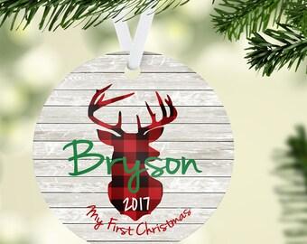 Plaid Ornament, Buffalo Plaid Christmas Ornament, First Christmas Ornament, Deer Head Ornament, Baby Boy Ornament, Personalized Ornament