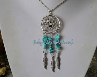 Large Statement Silver Dreamcatcher with Turquoise Crystal Chip Beads and Silver Feather Charms on Silver Chain, Black Cord or Braided Cord