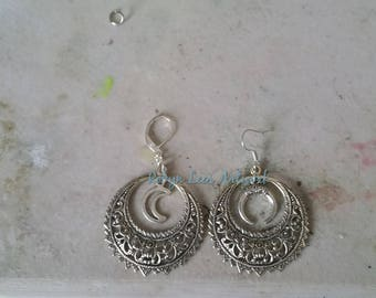 Large Silver Victorian Style Filigree Hoop Earrings with Crescent Moon Charms or Double Horns Charms on Earring Hooks or Leverbacks. Costume