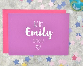 Personalised new baby card - for baby girl - new parents card