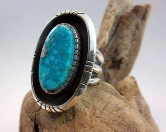 Large Turquoise Statement Ring, Size 7, Kingman water web Turquoise, Sterling Silver, Shadowbox Ring, Rare Turquoise ring