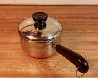 Vintage Revere Ware 3/4 Quart Saucepan with Lid, Copper Bottom, Copper Clad, Revere Ware Pan, Old Revere Ware, Revere Ware Saucepan