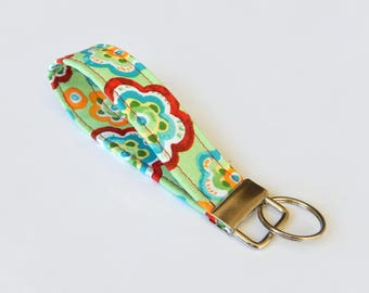 Flower Key Fob / Green Keychain / Abstract Floral Key Chain / Wrist Lanyard / Wristlet / Keychain Lanyard/Back to School Supplies / Colorful