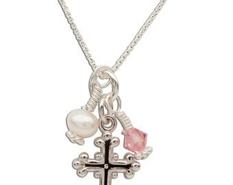 Sterling Silver First Communion Necklace with Freshwater Pearl, Swarovski Crystal, and Cross Charm (BCN-Cross Cluster Clear)