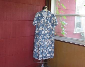 "SALE Vintage 1950s 1960s blue white floral house dress cotton 38"" bust 40"" waist 44"" hips unfinished hem (123115)"