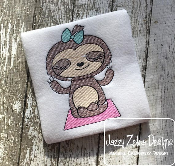 Sloth girl doing yoga sketch embroidery design - sloth embroidery design - yoga embroidery design - sketch embroidery design - girl design
