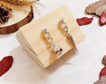 Minimalist PUNK Collection | Minimalist Earrings, Punk Earrings, Asymmetric Earrings, Spike and Skull Earrings, Chain Earrings, Gift for Her
