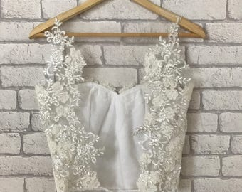 Bridal ivory lace top, lace wedding top, bridal wedding top, bridal separates, open back backless wedding top, ivory lace wedding dress gown